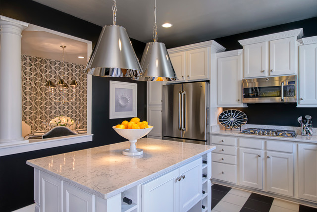 Quartz Countertop Kitchen Contemporary with Black and White Checkered