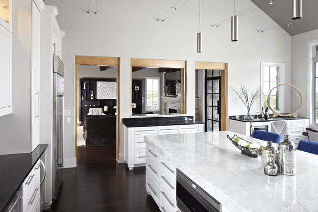 Quartz Countertop Kitchen Contemporary with Black Granite Dark Stained