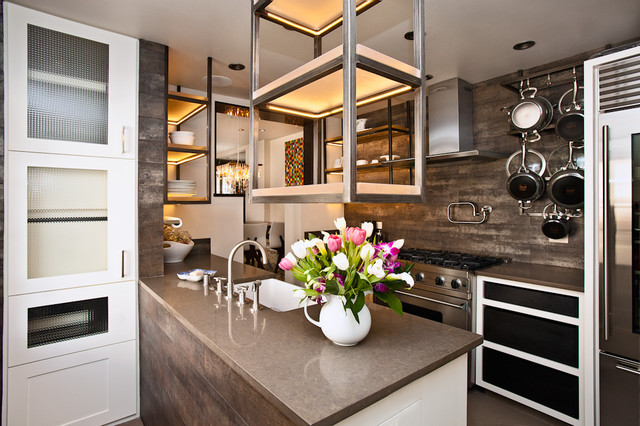 Quartz Countertop Kitchen Contemporary with Contemporary Floral Arrangement Hanging