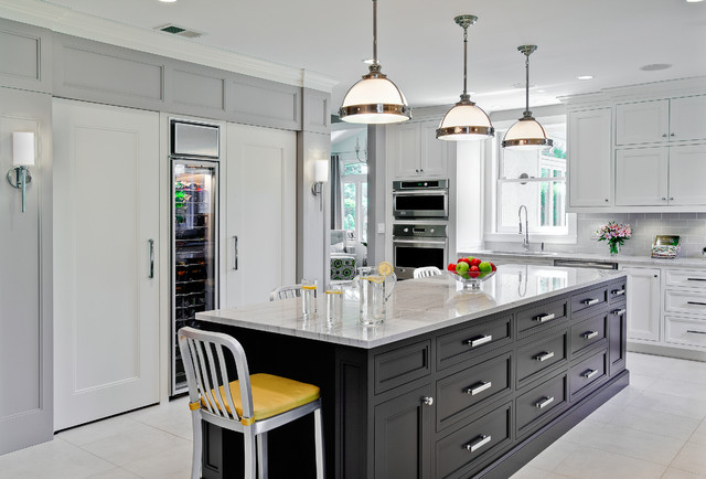 Quartzite Countertops Kitchen Traditional with Accent Cabinetry Compact Fluorescent