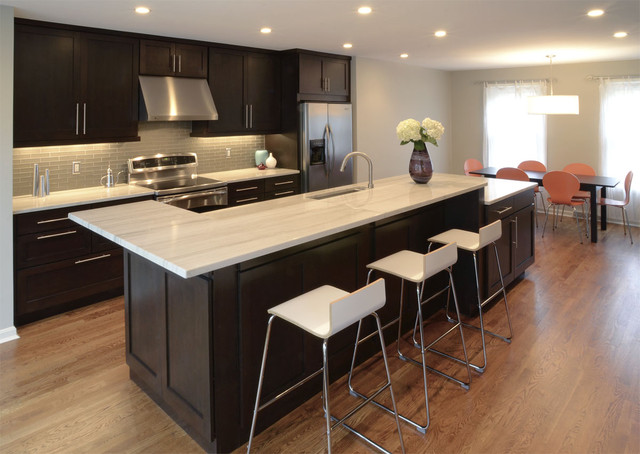 Quartzite Countertops Kitchen Transitional with Counter Stools Dark Stained