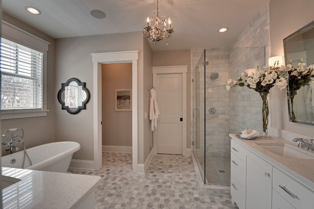 Quatrefoil Mirror Bathroom Traditional with Baseboard Gray Counter Gray