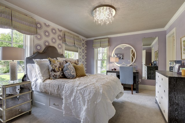 Quatrefoil Mirror Bedroom Transitional with Baseboard Crown Molding Desk