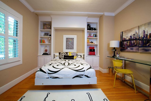 Queen Bed with Trundle Bedroom Eclectic with Alcove All American All1