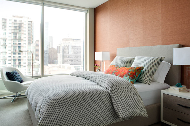 Queen Bedspread Bedroom Contemporary with Bachelorette Pad City View