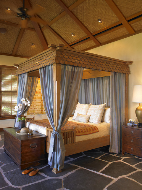 Queen Canopy Bed Frame Bedroom Tropical with Accent Ceiling Bed Pillows