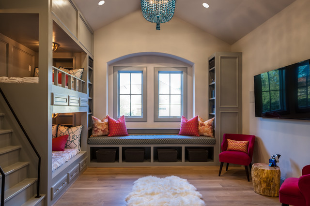 Queen Captains Bed Kids Transitional with Arched Window Bellaire Home