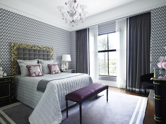 Queen Fitted Sheet Bedroom Contemporary with Area Rug Astor Apartment