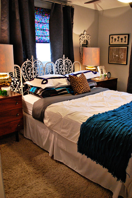 Queen Headboard Dimensions Bedroom Eclectic with Bedding Blue Brass Cheetah