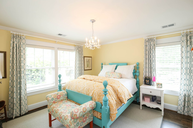 Queen Size Bed Rails Bedroom Traditional with Double Hung Windows Turquoise
