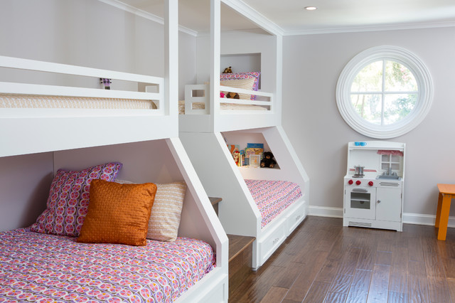 Queen Size Bed Rails Kids Traditional with Beige Wall Built in Bunk