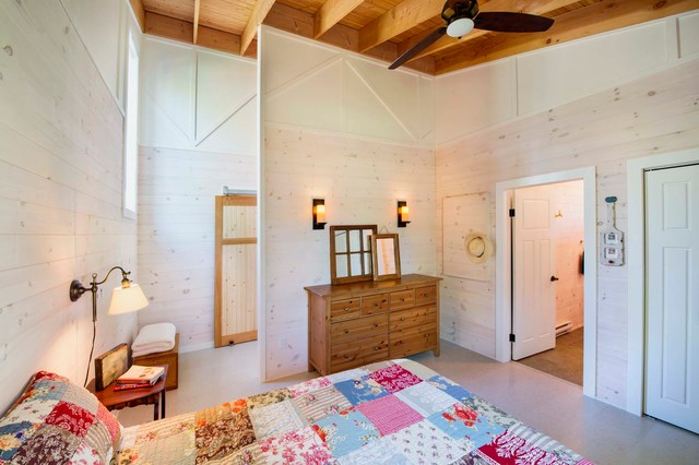 Quilted Bedspreads Bedroom Rustic with Ceiling Fan Exposed Beams