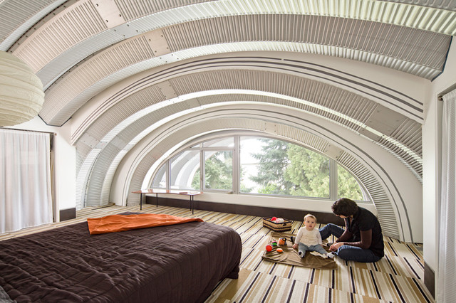 Quonset Hut Homes Bedroom Eclectic with Arch Arched Window Archway