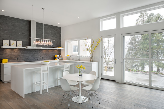 Rapport Furniture Kitchen Contemporary with Clerestory Window Cluster Pendant