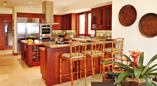 Rattan Bar Stools Kitchen Tropical with Breakfast Bar Ceiling Lighting