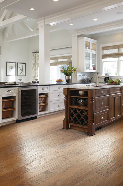 Rattan Baskets Spaces Traditional with Flooring Hardwood Kitchen