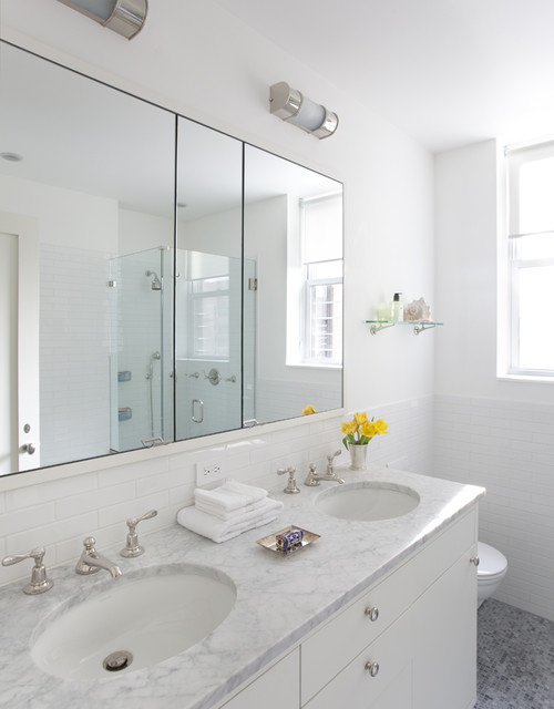 Recessed Medicine Cabinet Bathroom Contemporary with Double Sink Glass Shower