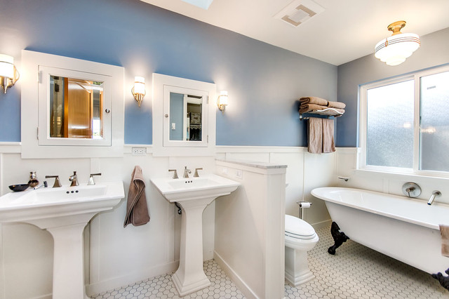 Recessed Medicine Cabinet Bathroom Traditional with Blue Walls Claw Foot1