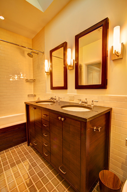 Recessed Medicine Cabinets Bathroom Traditional with Bath Craftsman Half Tiled