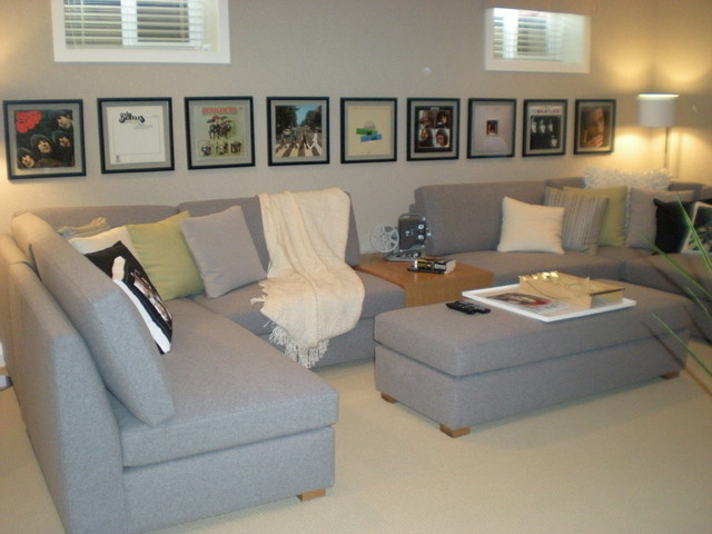 Record Album Frames Family Room Modern with Entertainment Family Room Media