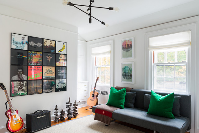 Record Album Frames Family Room Transitional with Futons Sofa Beds Green