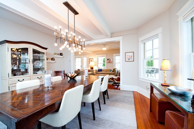 Rectangle Chandelier Dining Room Eclectic with Baseboards Casement Chair Cody1