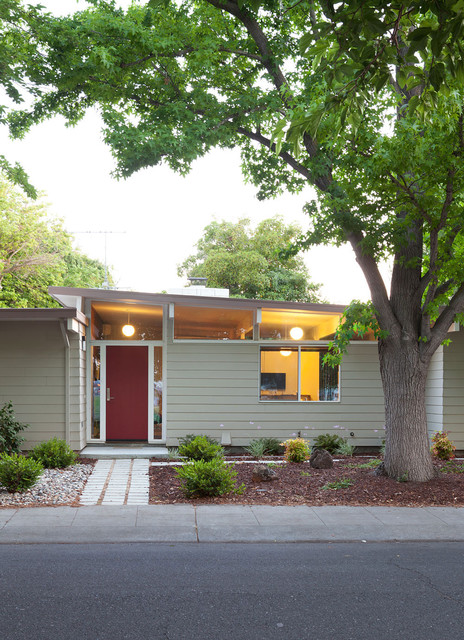 reeds ferry sheds Exterior Midcentury with butterfly roof Clerestory Eichler