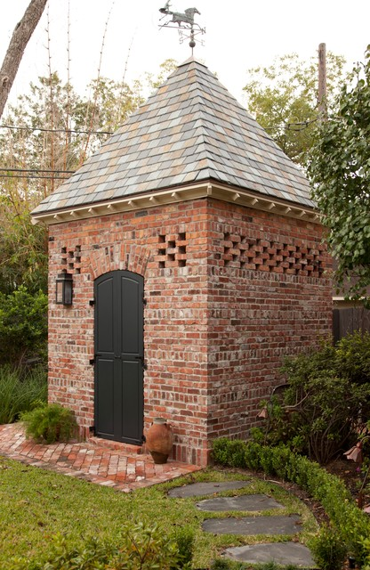Reeds Ferry Sheds Garage and Shed Traditional with Backyard Black Door Brick