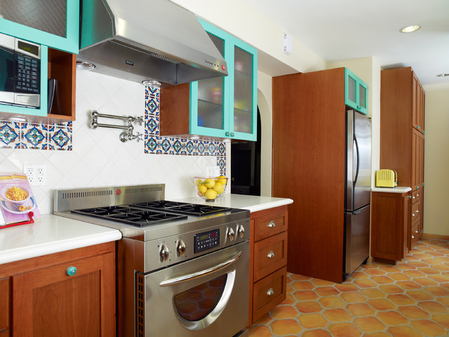 Reface Cabinets Kitchen Mediterranean with Ceiling Lighting Pot Filler