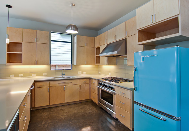 Refacing Cabinets Kitchen Midcentury with Birch Concrete Floor Light