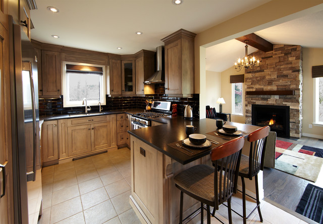 refacing kitchen cabinets Kitchen Transitional with breakfast bar chandelier chimney