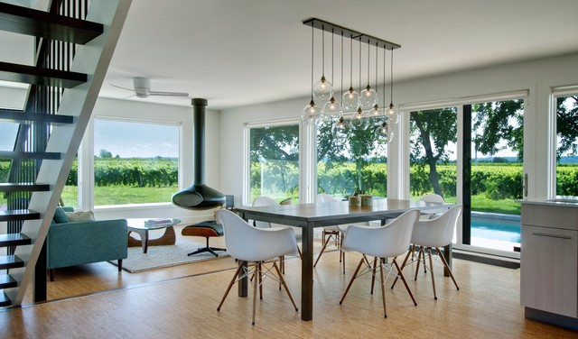 Regina Andrew Lighting Dining Room Contemporary with Cluster Pendant Cork Floor