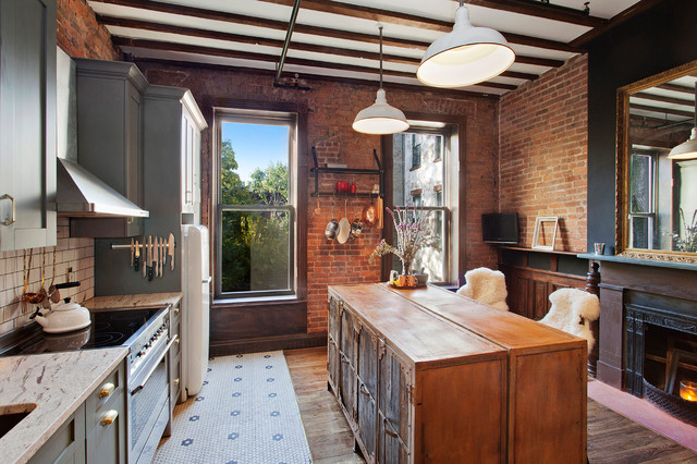 Repurposed Materials Kitchen Eclectic with Beamed Ceiling Black Wall