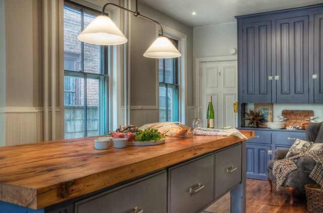 Repurposed Materials Kitchen Traditional with Beadboard Blue Cabinets Butcher