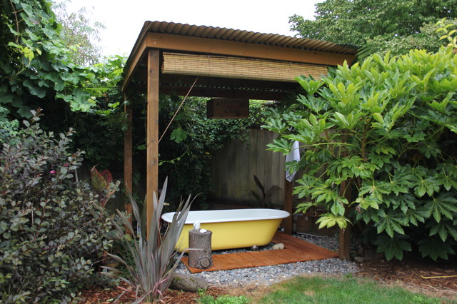 Repurposed Materials Patio Eclectic with Bamboo Shade Bath Bathtub