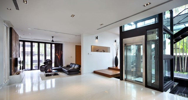 Residential Elevators Entry Contemporary with Black Vase Foyer Recessed