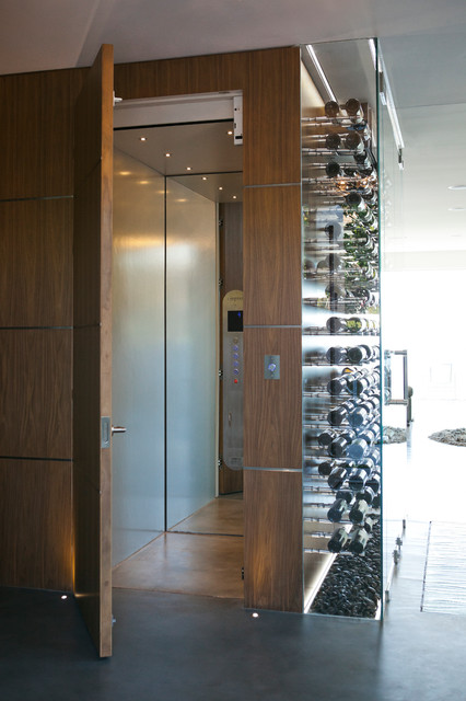 Residential Elevators Wine Cellar Contemporary with Clear Wine Rack Concealed