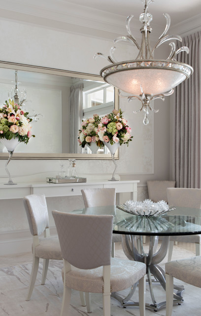Robb and Stucky Dining Room Traditional with Chandeliers Chrome Mirror Chrome