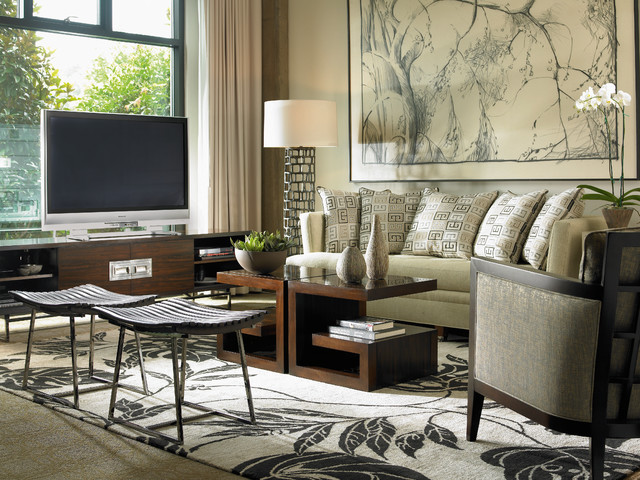 Robb and Stucky Living Room Contemporary with Beige Armchair Beige Artwork