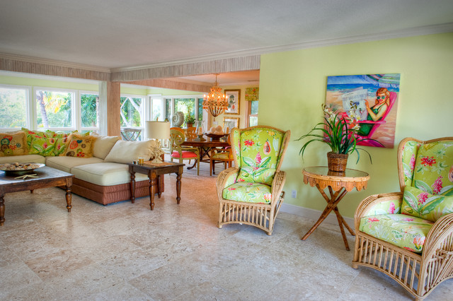 Robb and Stucky Living Room Tropical with Accent Wall Artwork Bamboo