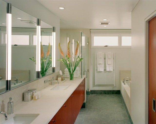 Robern Bathroom Modern with Ceiling Lighting Double Sinks
