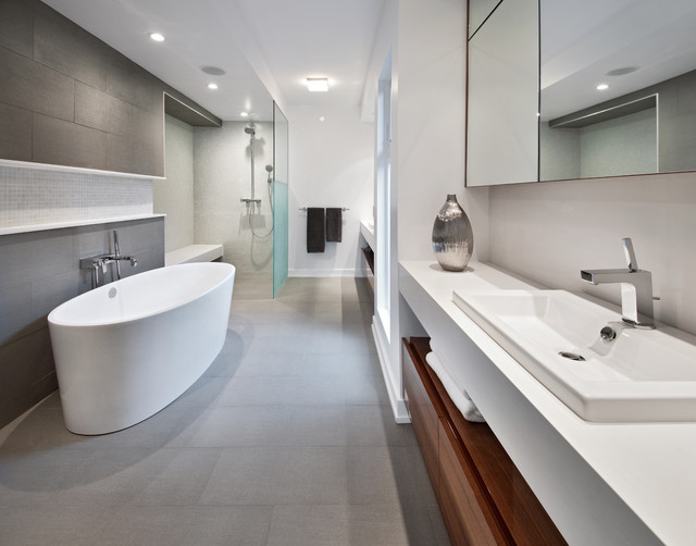 Roca Tile Bathroom Contemporary with Ceiling Light Floating Shower