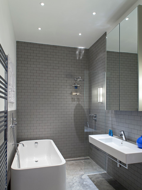 Roca Tile Bathroom Contemporary with Gray and White Gray