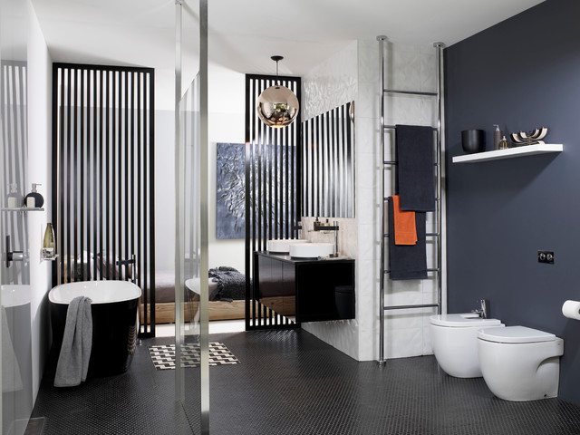 Roca Tile Bathroom Scandinavian with Black and White Black