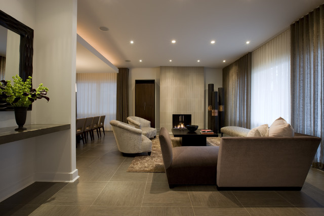 Roca Tile Living Room Contemporary with Area Rug Baseboards Built