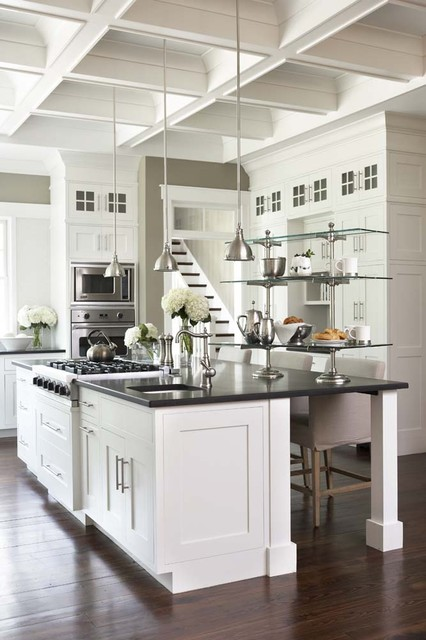 rohl faucets Kitchen Traditional with breakfast bar coffered ceiling