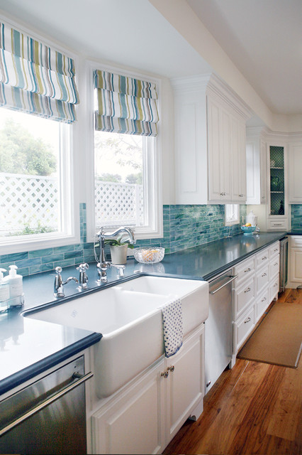 Rohl Sinks Kitchen Traditional with Backsplash Blue Backsplash Corner