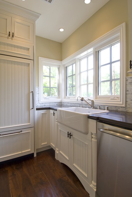 Rohl Sinks Kitchen Traditional with Beadboard Cabinet Front Fridge