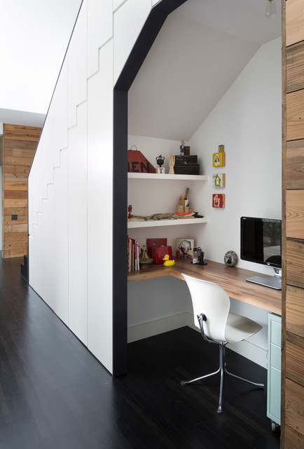 Rolling File Cabinet Home Office Contemporary with Dark Wood Floor Hallway