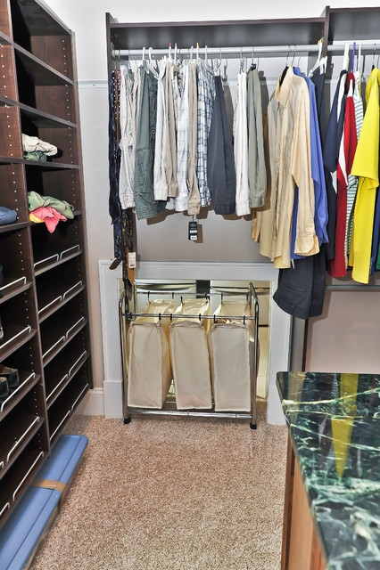 Rolling Laundry Basket Closet Traditional with Beige Carpet Beige Wall